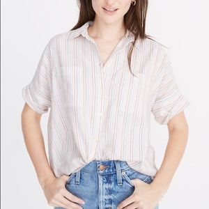 Madewell Courier Button Down in Rainbow Stripe